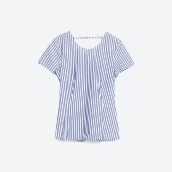 Zara Tops - Zara Striped Twisted Knot Cut Out Back Top